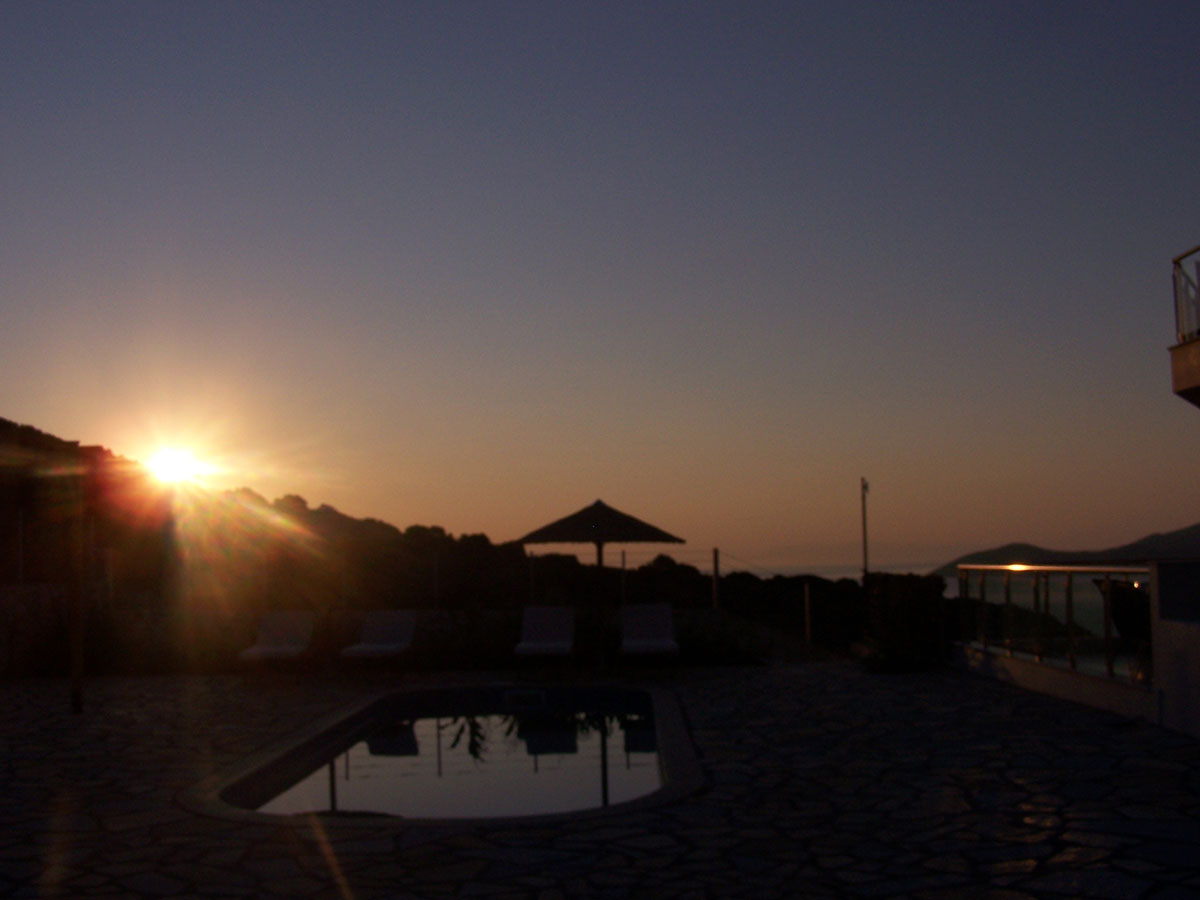 The sunrise by the pool
